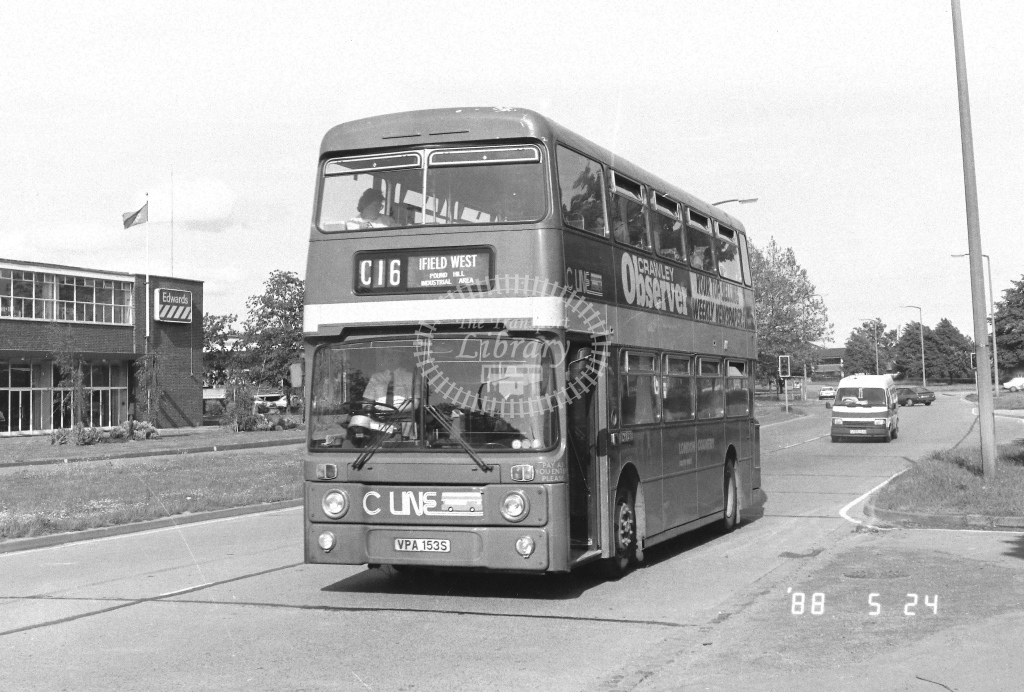 London Country South West Leyland Atlantean Class AN AN153  on route C16 VPA153S  at Crawley  in 1988 - Russell Fell
