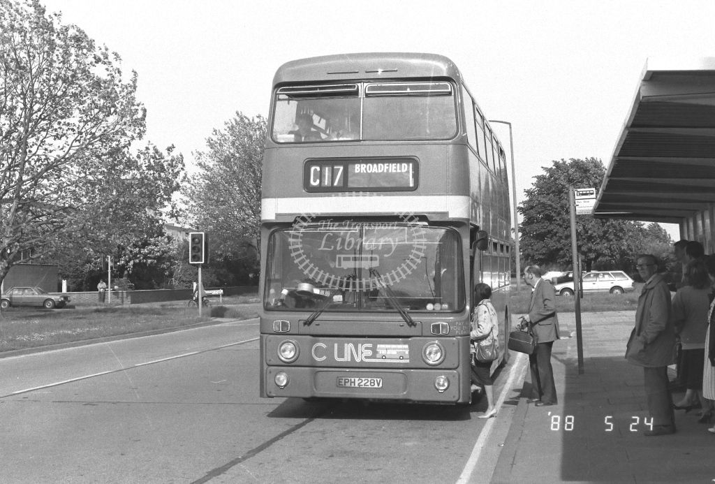 London Country South West Leyland Atlantean Class AN AN228  on route C17 EPH228V  at Crawley  in 1988 - Russell Fell