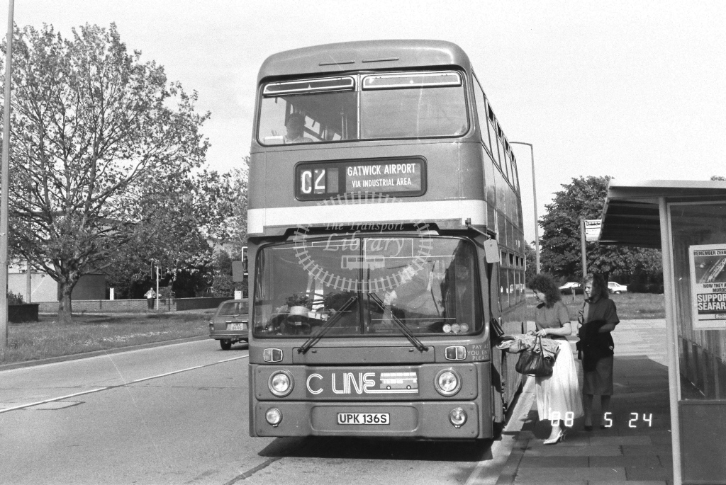 London Country South West Leyland Atlantean Class AN AN136  on route C2 UPK136S  at Crawley  in 1988 - Russell Fell