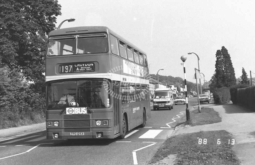 London Country South West Leyland Olympian Class LR LR25  on route 197A TPD125X  at Purley  in 1988 - Russell Fell