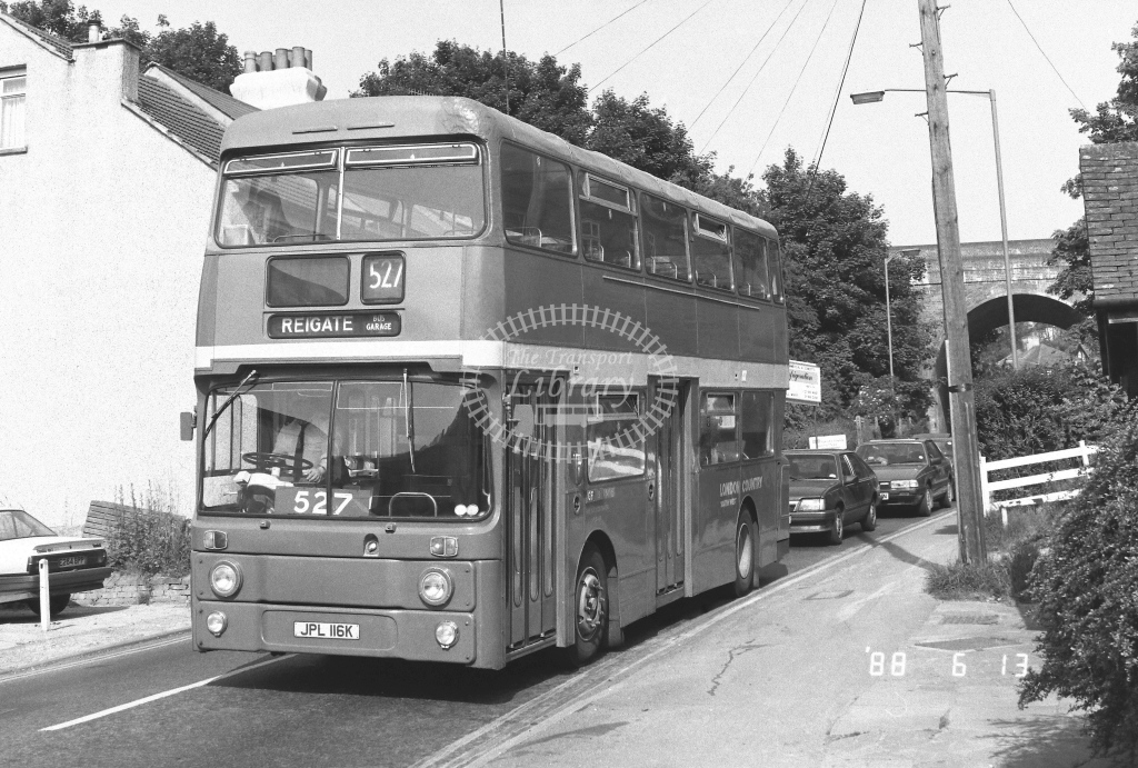 London Country South West Leyland Atlantean Class AN AN16  on route 527 JPL116K  at Whyteleafe  in 1988 - Russell Fell