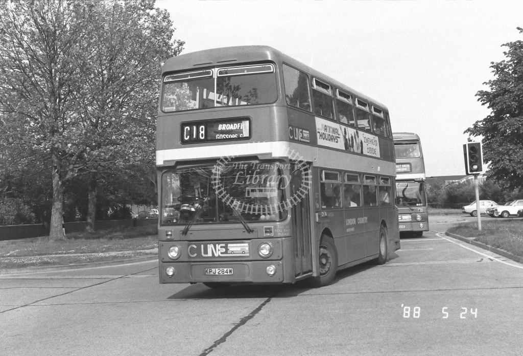 London Country South West Leyland Atlantean Class AN AN284  on route C18 KPJ284W  at Crawley  in 1988 - Russell Fell