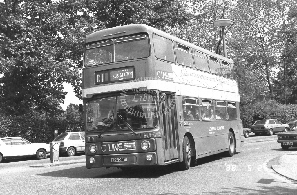 London Country South West Leyland Atlantean Class AN AN201  on route C1 XPG201T  at Crawley  in 1988 - Russell Fell