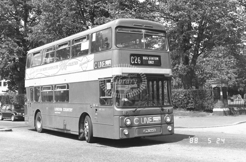 London Country South West Leyland Atlantean Class AN AN144  on route C26 UPK144S  at Crawley  in 1988 - Russell Fell