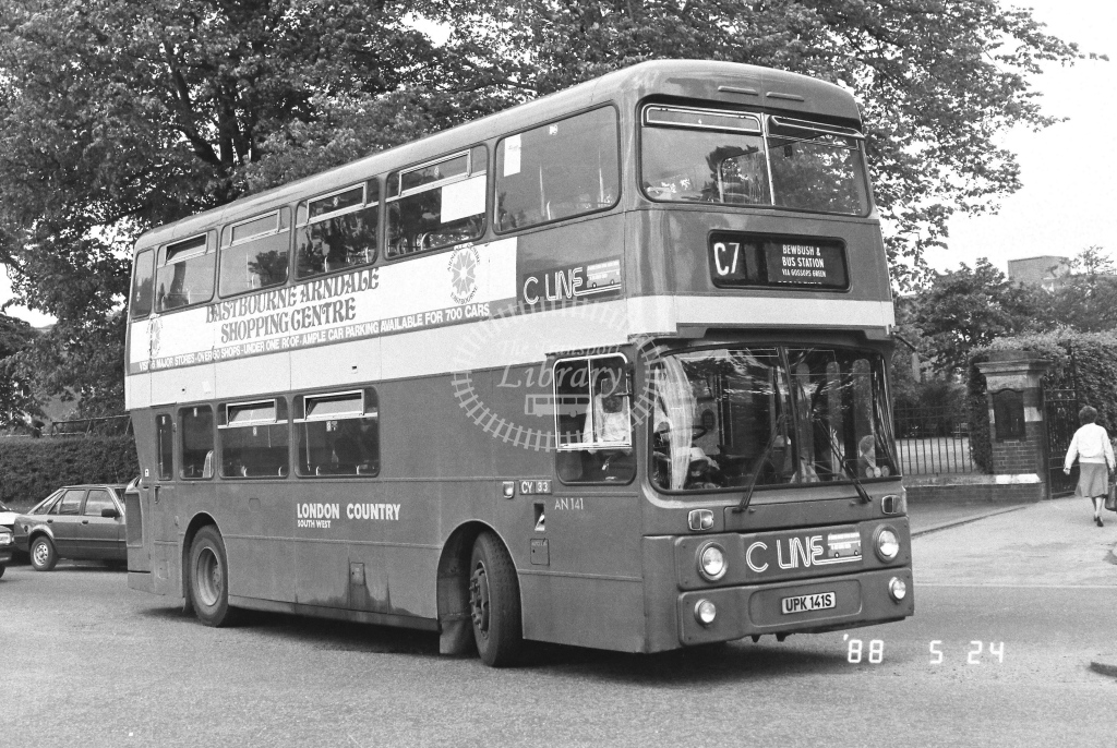 London Country South West Leyland Atlantean Class AN AN141  on route C7 UPK141S  at Crawley  in 1988 - Russell Fell