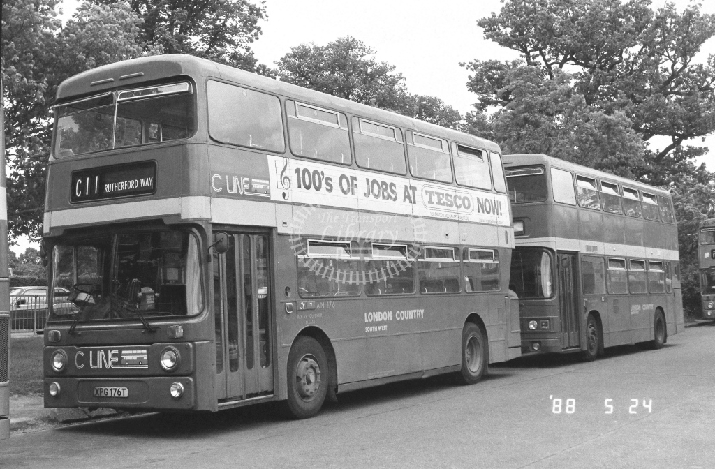 London Country South West Leyland Atlantean Class AN AN176  on route C11 XPG176T  at Crawley  in 1988 - Russell Fell