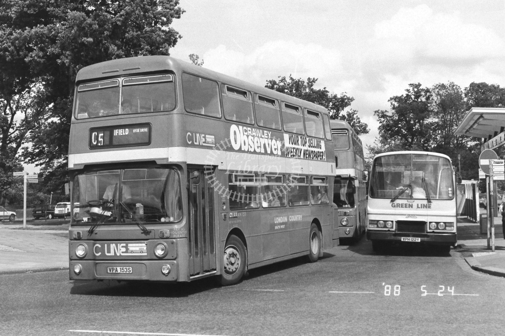 London Country South West Leyland Atlantean Class AN AN153  on route C5 VPA153S  at Crawley  in 1988 - Russell Fell