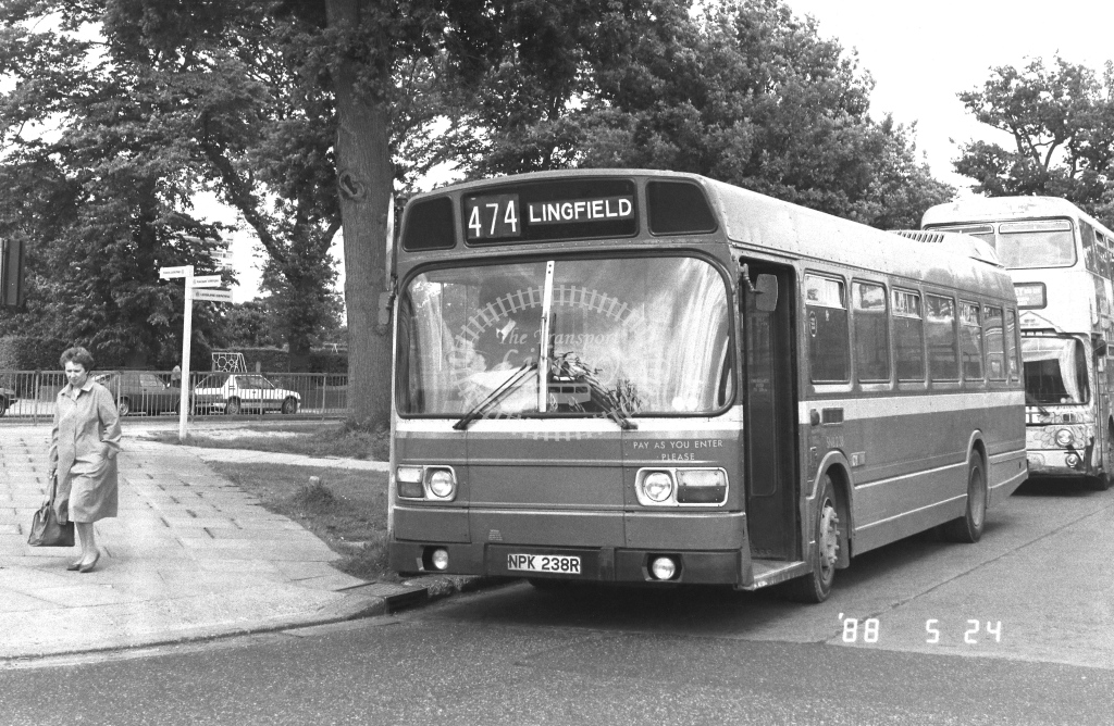 London Country South West Leyland National Class SNB SNB238  on route 474 NPK238R  at Crawley  in 1988 - Russell Fell