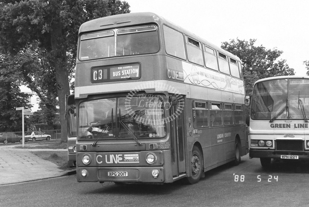 London Country South West Leyland Atlantean Class AN AN201  on route C3 XPG201T  at Crawley  in 1988 - Russell Fell