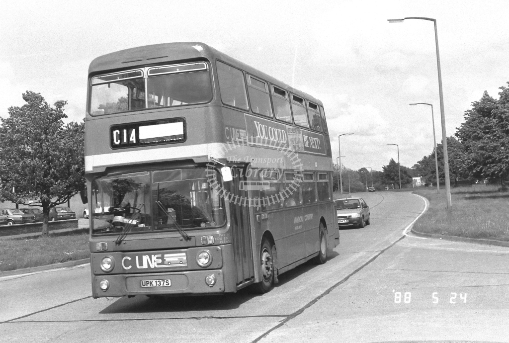 London Country South West Leyland Atlantean Class AN AN137  on route C14 UPK137S  at Crawley  in 1988 - Russell Fell