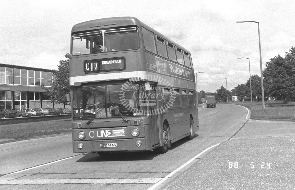 London Country South West Leyland Atlantean Class AN AN144  on route C17 UPK144S  at Crawley  in 1988 - Russell Fell
