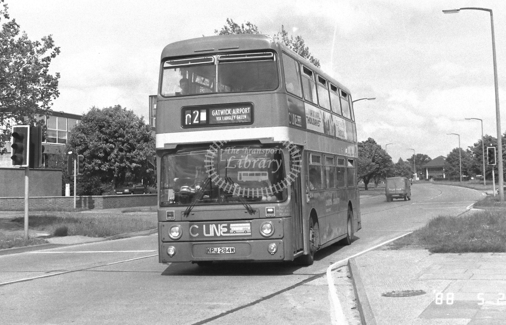 London Country South West Leyland Atlantean Class AN AN284  on route C2 KPJ284W  at Crawley  in 1988 - Russell Fell