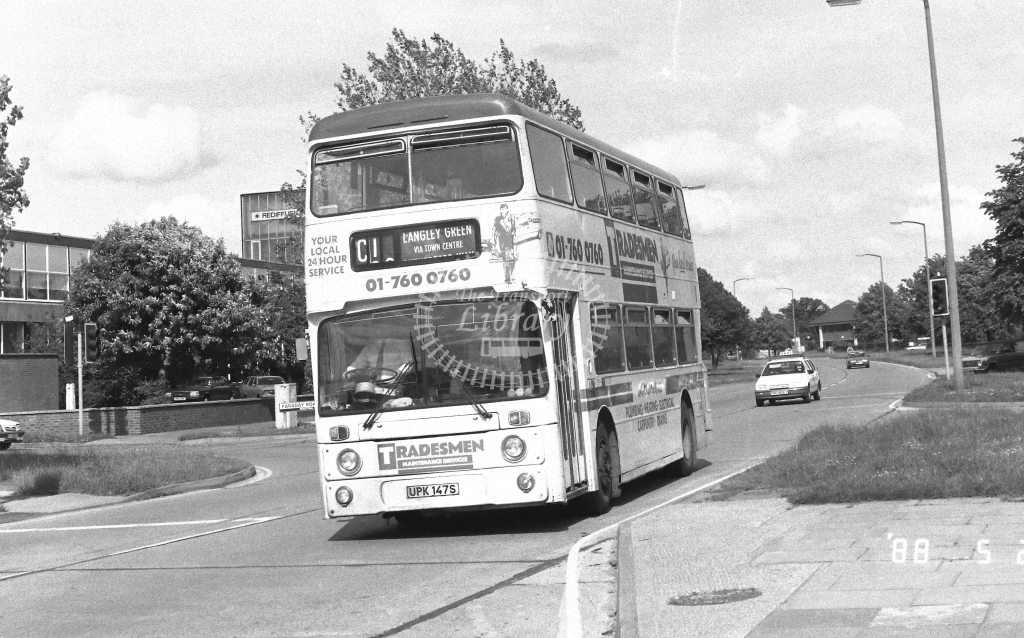 London Country South West Leyland Atlantean Class AN AN147  on route C1 UPK147S  at Crawley  in 1988 - Russell Fell