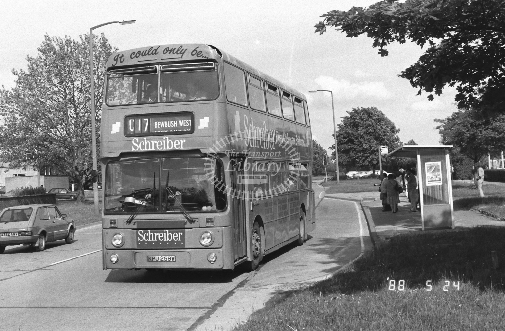 London Country South West Leyland Atlantean Class AN AN258  on route C17 KPJ258W  at Crawley  in 1988 - Russell Fell