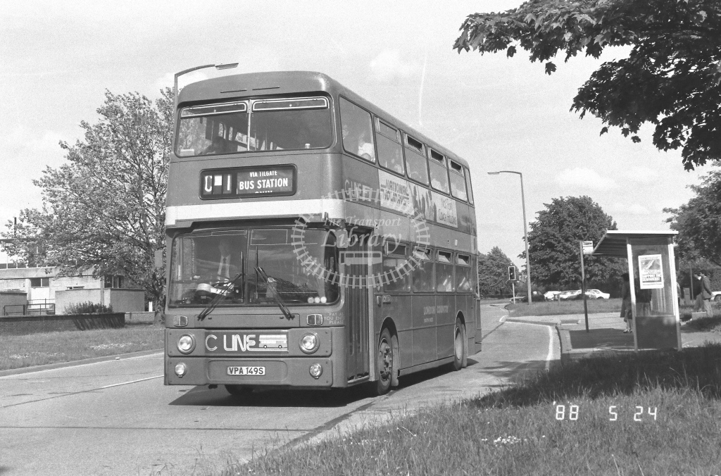 London Country South West Leyland Atlantean Class AN AN149  on route C1 VPA149S  at Crawley  in 1988 - Russell Fell