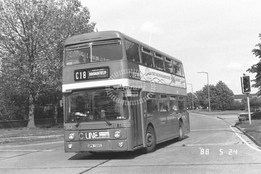 London Country South West Leyland Atlantean Class AN AN138  on route C18 UPK138S  at Crawley  in 1988 - Russell Fell