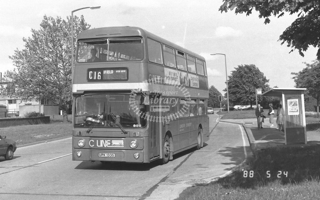 London Country South West Leyland Atlantean Class AN AN133  on route C16 UPK133S  at Crawley  in 1988 - Russell Fell