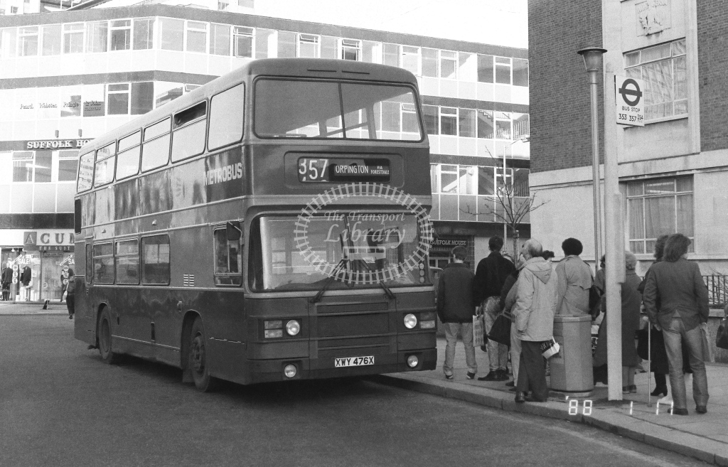 Metrobus Leyland Olympian  on route 357 XWY476X  at East Croydon   in 1988 - Russell Fell