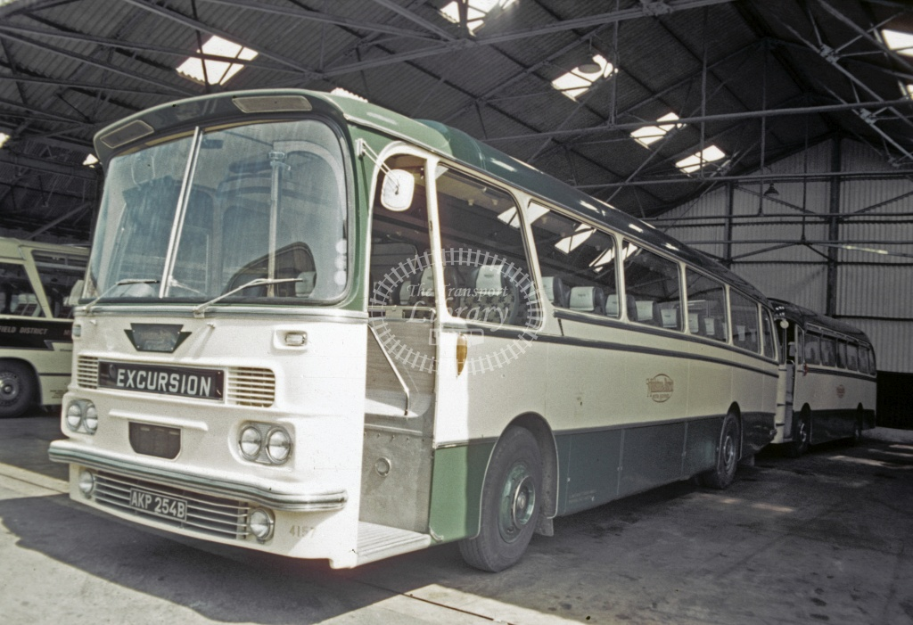 Maidstone and District AEC Reliance 4157 AKP254B at Garage in 1969 - Jun 1969 - Robin Hannay