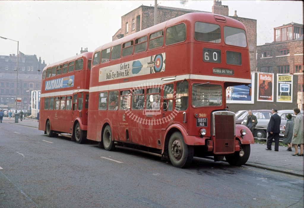 Manchester Leyland PD2/37 3651 9851NA at City centre in 1969 - Sep 1969 - Robin Hannay
