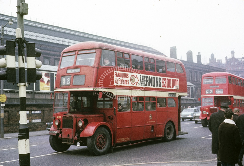 Manchester Crossley DD42 2108 HVM621 at City centre in 1966 - Apr 1966 - Robin Hannay