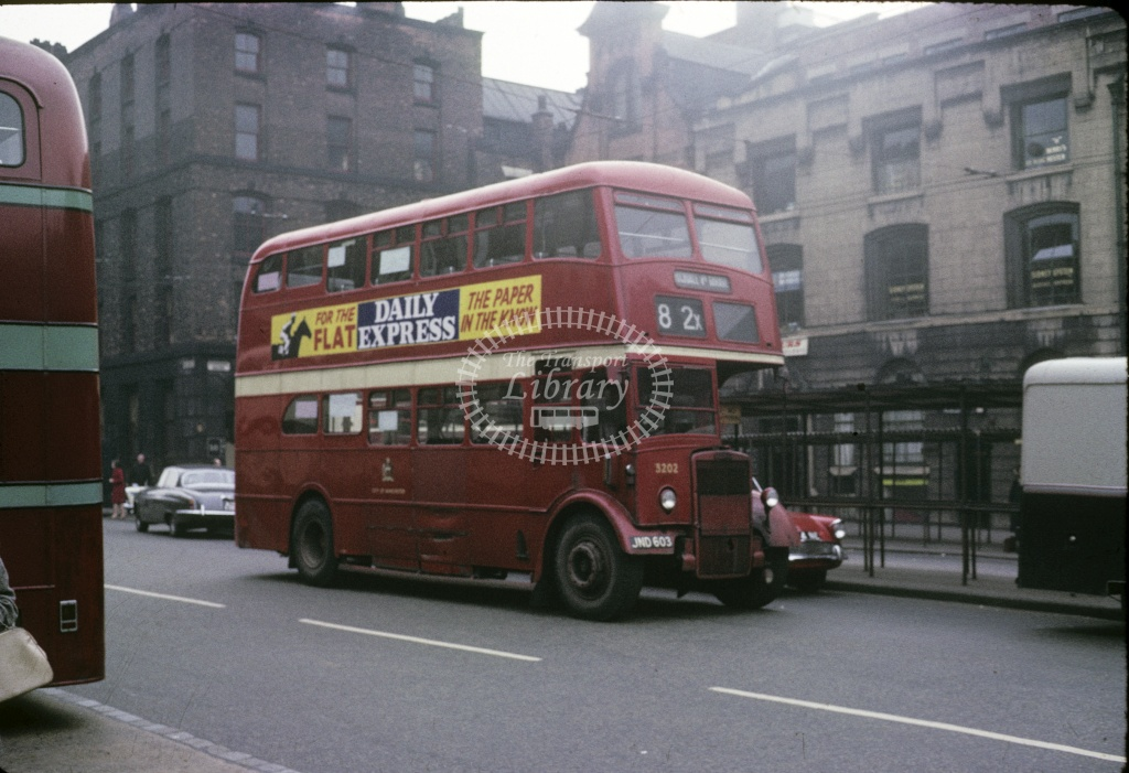 Manchester Leyland PD2/3 3202 JND603 at City centre in 1966 - Apr 1966 - Robin Hannay