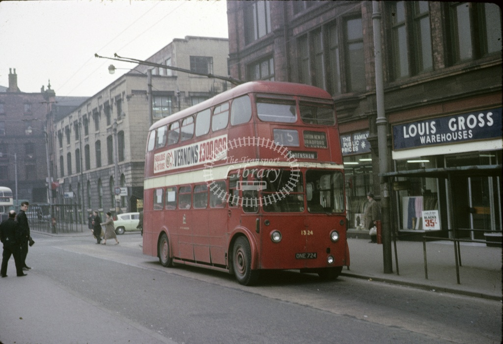 Manchester BUT 9612T 1324 ONE724 at City centre in 1966 - Apr 1966 - Robin Hannay
