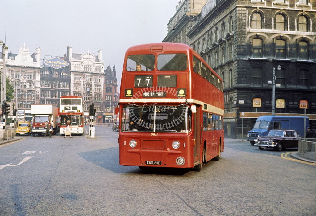 Manchester Leyland PDR1/2 3811 END811D at City centre in 1969 - Oct 1969 - Robin Hannay