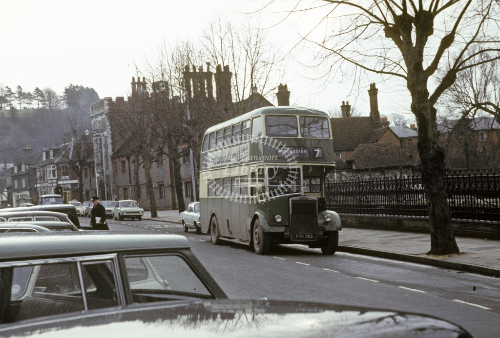 King Alfred, Winchester Leyland PD2/10 KOR382 at Winchester in 1970 - Feb 1970 - Robin Hannay