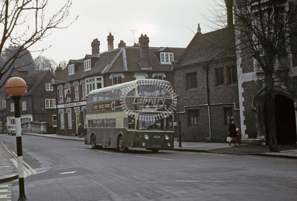 King Alfred, Winchester Leyland PDR1/2 HOR589E at Winchester in 1970 - Feb 1970 - Robin Hannay