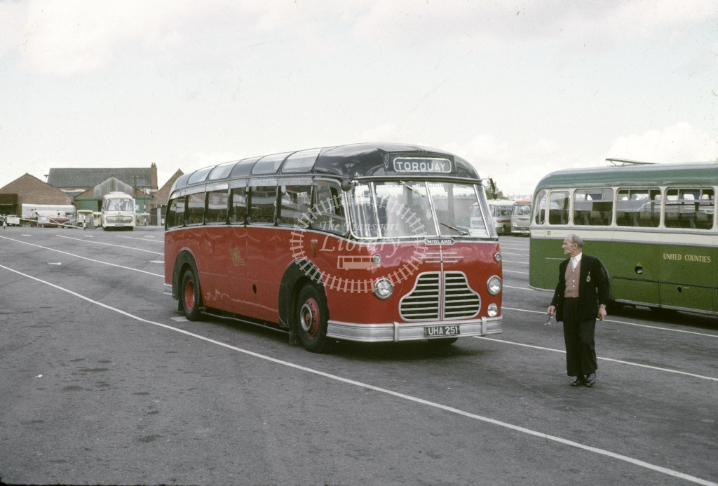 Midland Red BMMO C4 4251 UHA251 at Exeter Bus Stn in 1966 - Aug 1966 - Robin Hannay