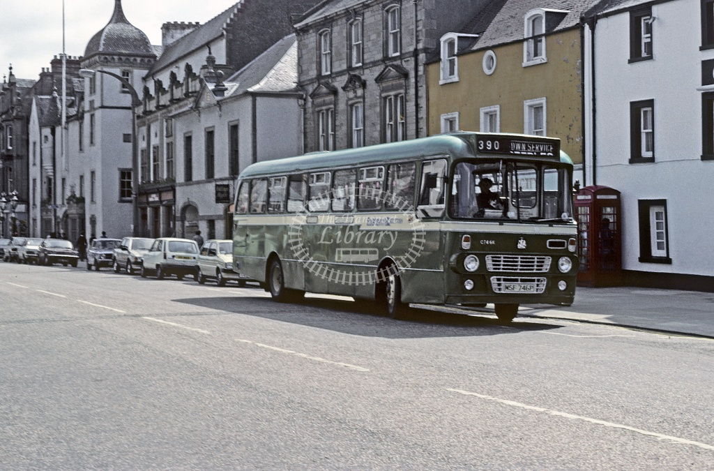 Eastern Scottish Bedford YRT C746 MSF746P in Peebles High Street From: Sholto Thomas  - Jun 1993 - Robin Hannay
