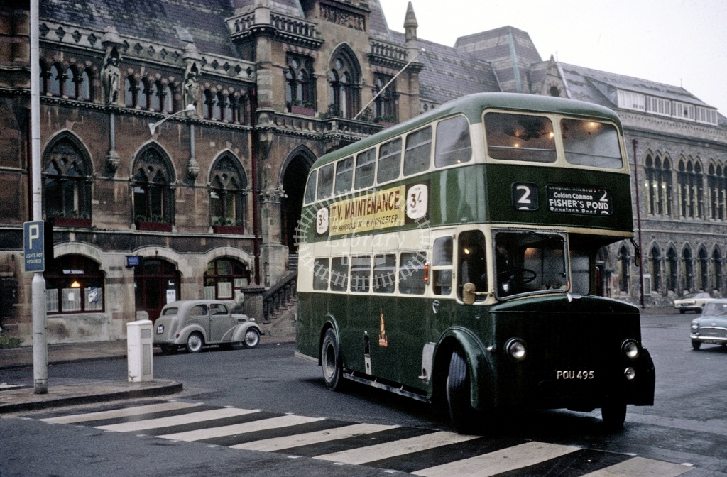 King Alfred, Winchester Leyland PD2/24 POU495 at Winchester  in 1966 - Mar-66 - Robin Hannay