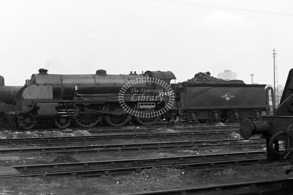 British Railways Steam Locomotive Class N15 30457 Sir Bedivere  at Nine Elms shed  in 1961 -  21/03/1961  - Dr T Gough