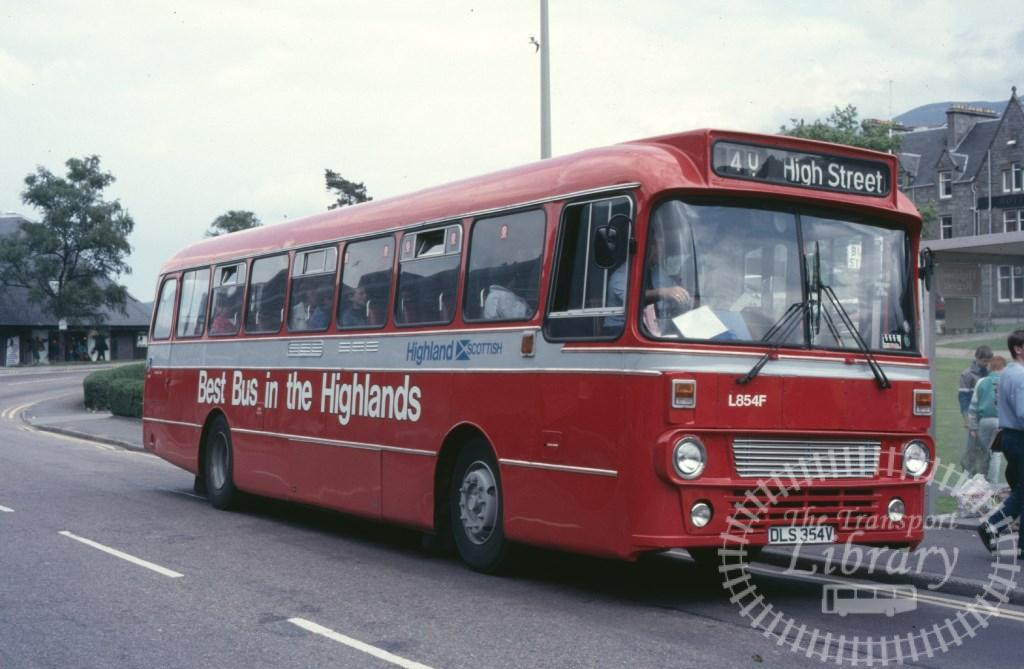 Highland Scottish Leyland Leopard L854 DLS354V in 1987 on route 40 - Ron Wellings