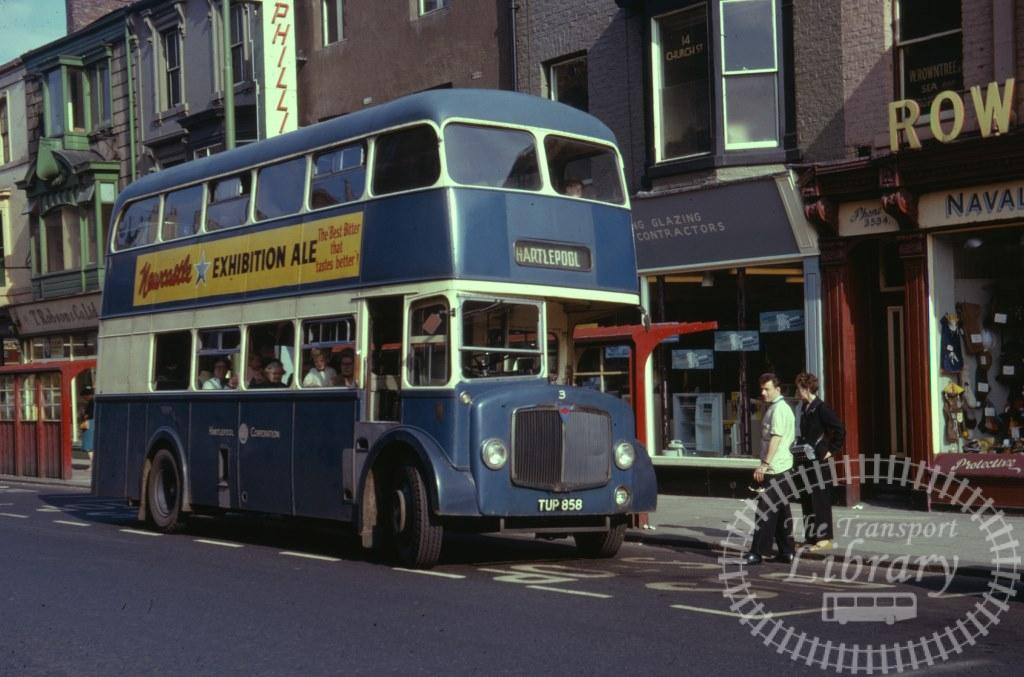 Hartlepool Corporation AEC Regent V 3 TUP858 in 1963 on route Unknown - 26/07/1963 - Ron Wellings