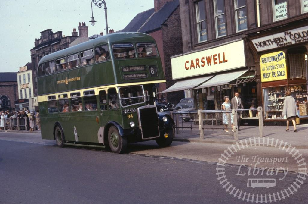 Stockton Corporation Leyland Titan PD2/12 94 VUP459 in 1963 on route 8 - 26/07/1963 - Ron Wellings