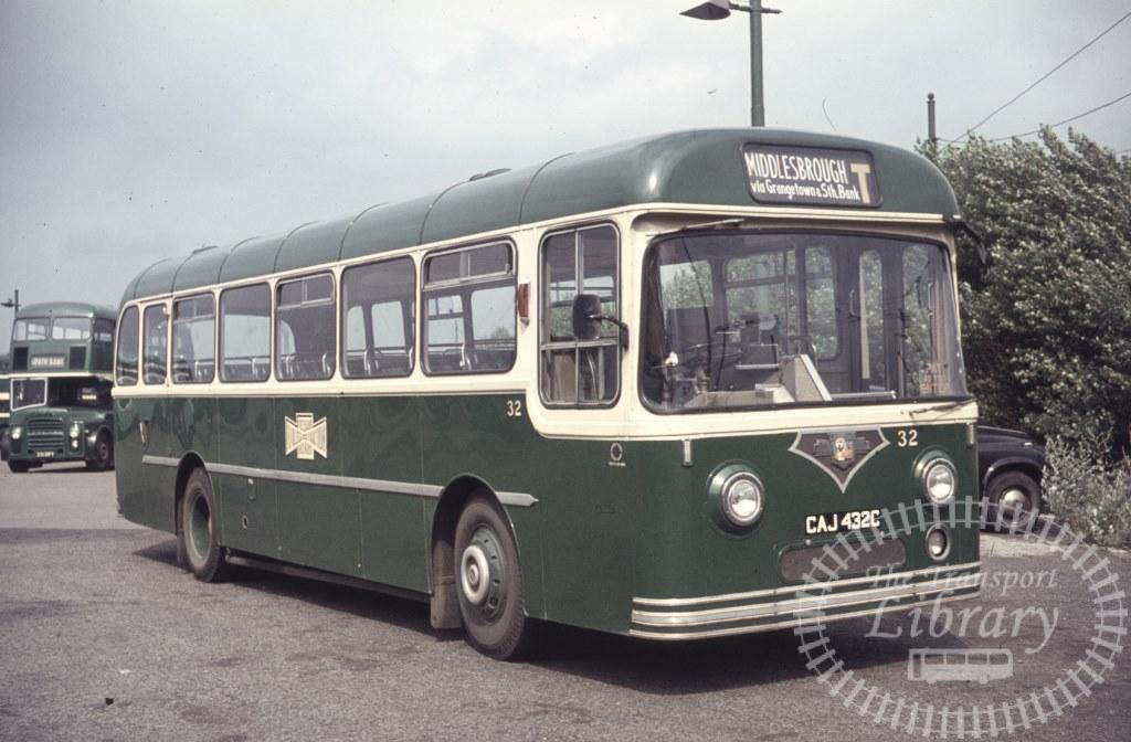 Teeside Railless Traction Board Leyland L1 32 CAJ432C in 1966 on route T - Ron Wellings