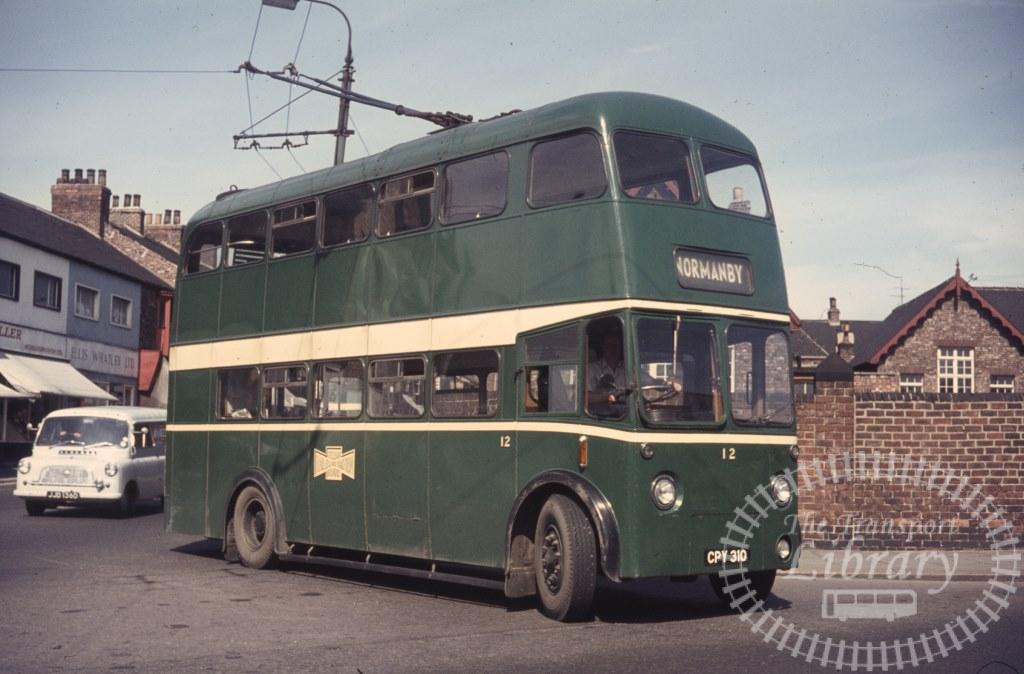 Teeside Railless Traction Board Sunbeam Trolleybus 12 CPY310 in 1966 on route Unknown - Ron Wellings