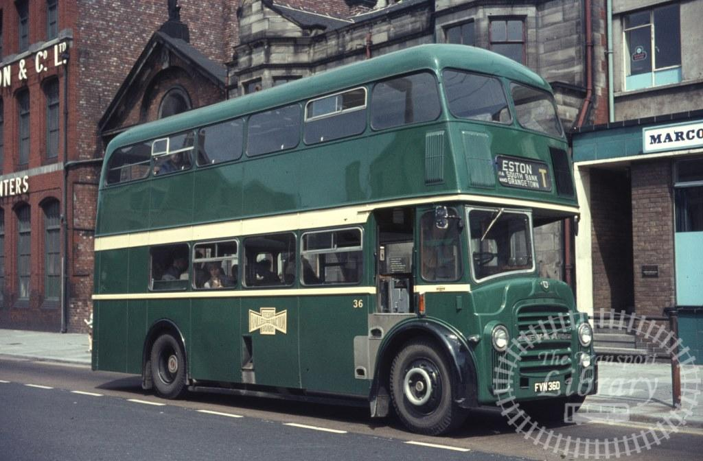 Teeside Railless Traction Board Leyland Titan PD2A/27 36 FVN36D in 1966 on route T - Ron Wellings