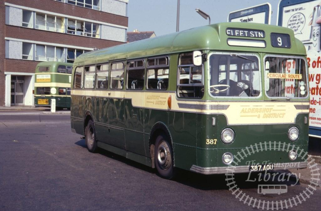 Aldershot and District AEC Reliance 387 387AOU in 1971 on route 9 - 07/07/1971 - Ron Wellings