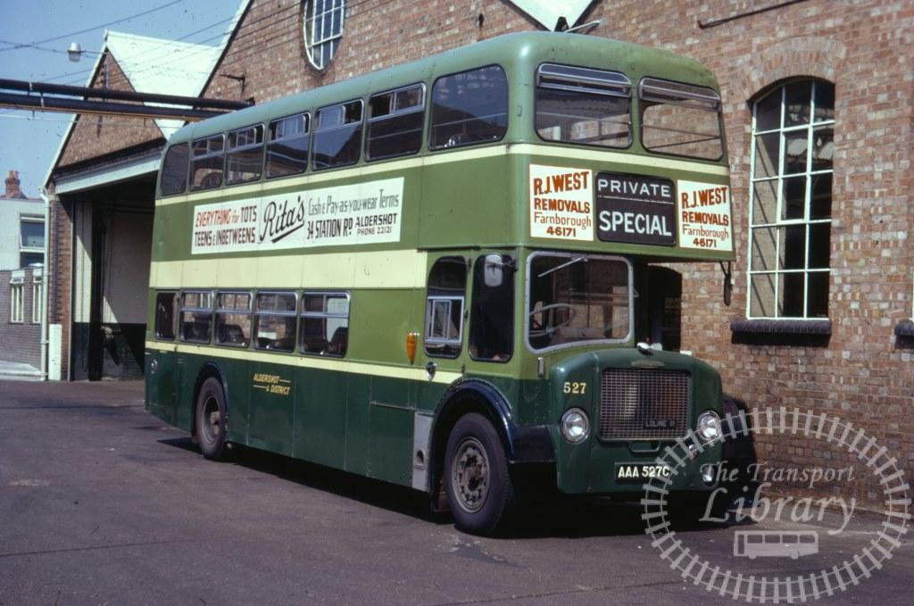Aldershot and District Dennis Loline 527 AAA527C in 1971 on route Unknown - 07/07/1971 - Ron Wellings