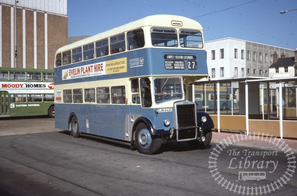 Southend Transport Leyland Titan PD3/6 342 CJN442C in 1977 on route 27 - 29/09/1977 - Ron Wellings