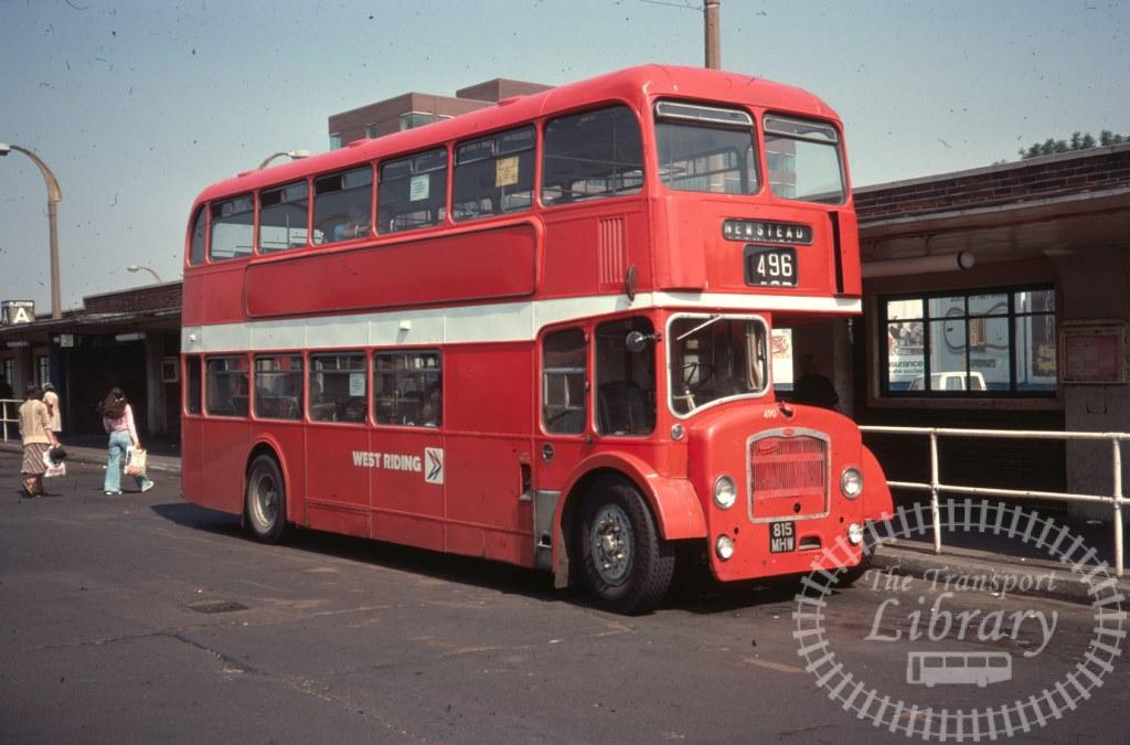 West Riding Bristol Lodekka 490 815MHW in 1977 on route 496 - 11/08/1977 - Ron Wellings