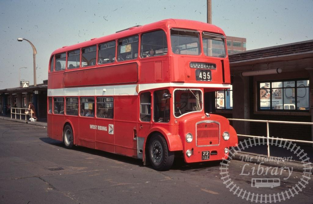 West Riding Bristol Lodekka 497 212NAE in 1977 on route 495 - 11/08/1977 - Ron Wellings