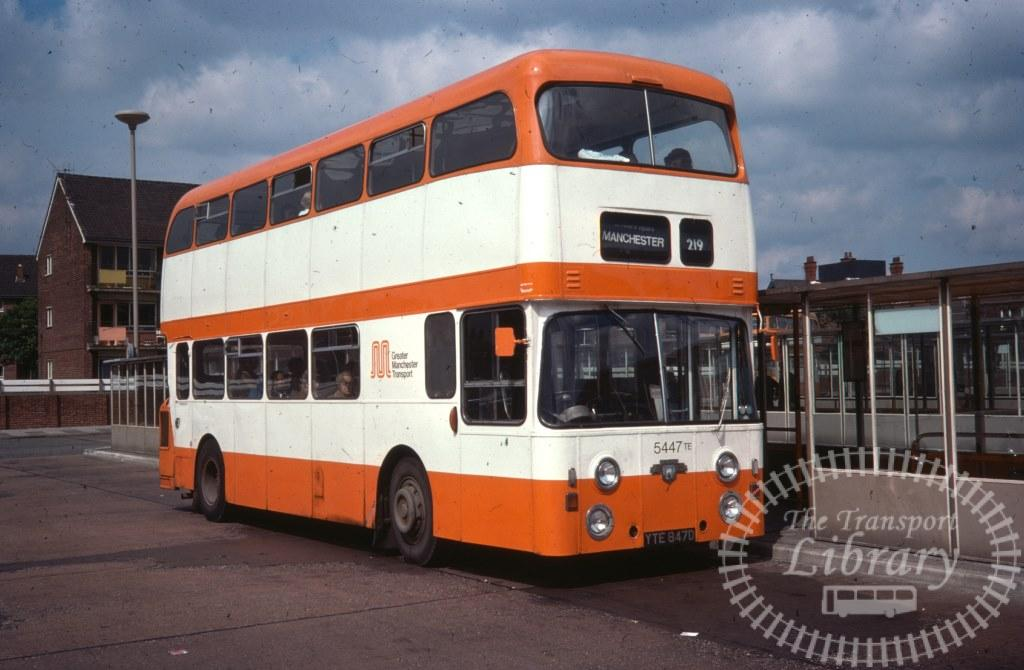 Greater Manchester Transport Leyland Atlantean 5447 YTE847D in 1977 on route 219 - 08/08/1977 - Ron Wellings
