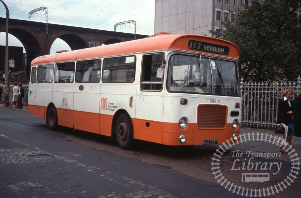 Greater Manchester Transport Bristol RESL 292 KJA292G in 1977 on route 317 - 08/08/1977 - Ron Wellings