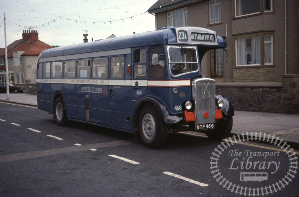 Lancaster City Council Daimler CVG5 466 NTF466 in 1977 on route 23A - 06/08/1977 - Ron Wellings