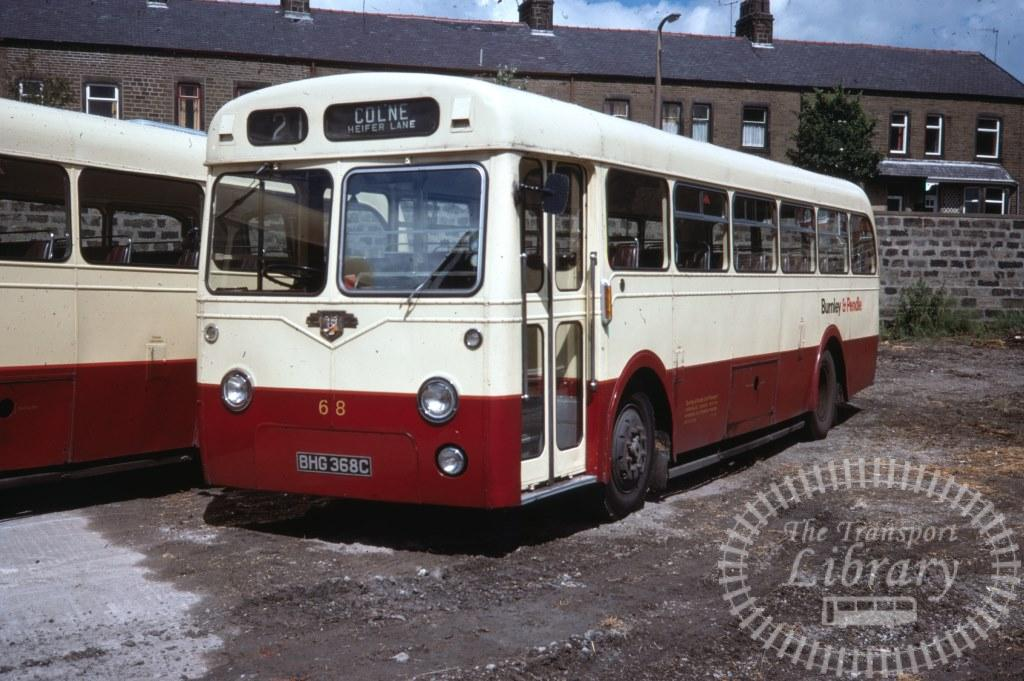 Burnley and Pendle Leyland Leopard 68 BHG368C in 1977 on route 2 - 05/08/1977 - Ron Wellings