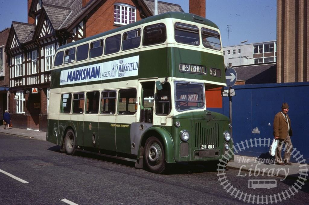 Chesterfield Transport Leyland Titan PD2/80 214 214GRA in 1977 on route 53 - 28/05/1977 - Ron Wellings